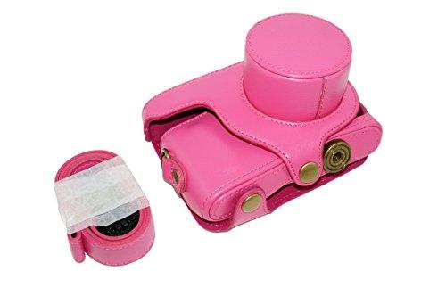 Idaily Retro Protective Pu Leather Camera Case Bag With Tripod Design Compatible For Samsung Nx Mini Nxf1 Smart Camera 9 - 27Mm Lens Magenta + Free Shoulder Neck Strap Belt