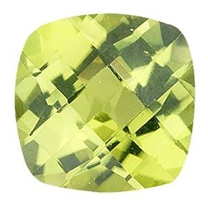 1.05 Cts of 6 mm AAA Cushion Checker Board Peridot (1 pc) Loose Gemstone