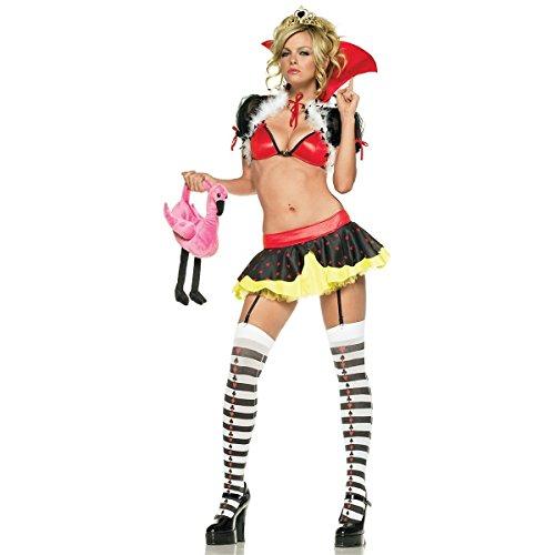 GSG Queen of Hearts Costume Adult Naughty Bedroom Dancer Halloween Fancy Dress (Dark Naughty Nurse Costume)