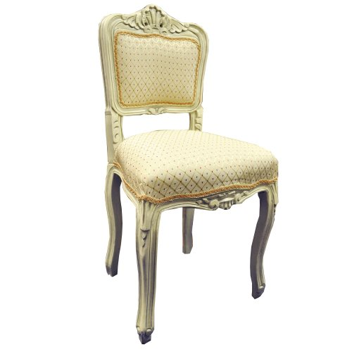 Antique Finish Cream Frame Cream Diamond Fabric Louis Bedroom Chair