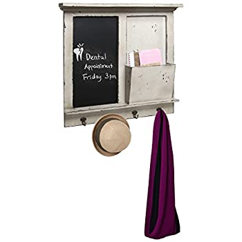 Vintage Wood Wall Mounted Chalkboard Rack, Magazine Holder / Mail Sorter Basket, 4 Coat / Key Hooks