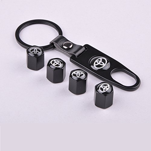 Set of 4 Car Tire Valve Stem Air Caps Cover + Keychain For Toyota Black (Tire Caps Valve Toyota compare prices)
