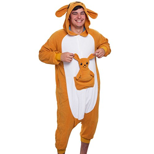 Silver Lilly Adult Pajamas - One Piece Cosplay Animal Costume (Brown Kangaroo L)