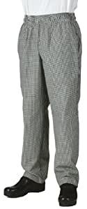 Chef Works NBCP Small Checks Basic Baggy Chef Pants, Black/White, X-Small