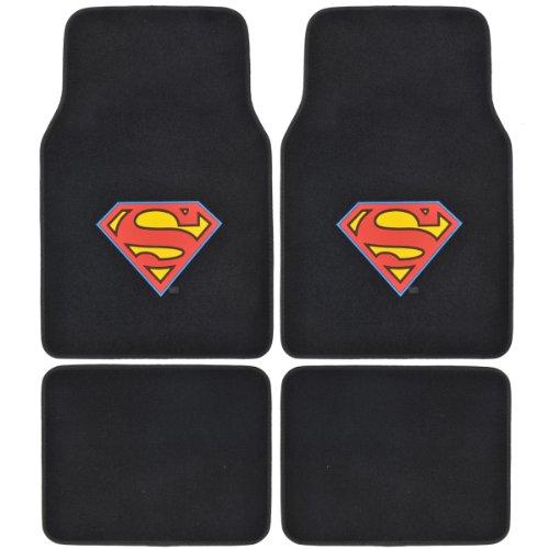 A Set Of 4 Universal Fit Plush Carpet Floor Mats For Cars / Trucks - Superman... front-537241