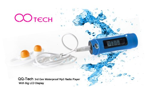 QQ-Tech® 3rd Gen 4GB Waterproof MP3 Player FM Radio Big LCD Display For Swimming Water Sports (Blue)