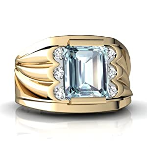 14K Yellow Gold Emerald-cut Genuine Aquamarine Men's Men's Ring Size 11