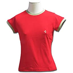 Red Prancing Horse Womens Bicolor Tee Shirt Medium