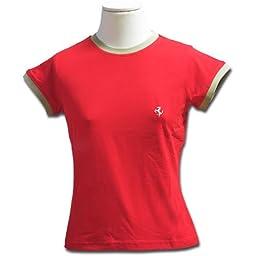 Red Prancing Horse Womens Bicolor Tee Shirt Medium