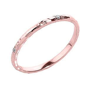 amazon   dainty 10k rose gold pink hammered band