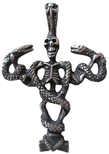 Unisex Uomo e Donna Ticila ciondolo cromo Mode drachensilber Cobra Skull Vecchio argento colore