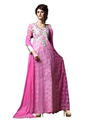 Blissta Pink Net Long Partywear Gown Dress Material