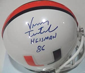 Vinny Testaverde Heisman 86 Miami Hurricanes Signed Riddell Mini Helmet W COA by Hollywood+Collectibles