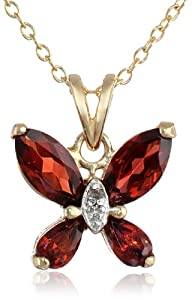"""Yellow Gold Plated Sterling Silver Garnet and Diamond Accent Butterfly Pendant Necklace, 18"""""""