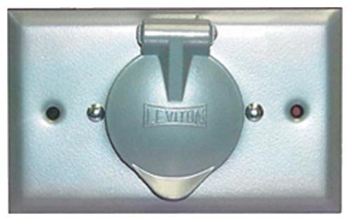 Leviton 4937 Weatherproof Inlet on Flush Mount Wallplate with Aluminum Cover, Straight Blade Receptacle, Gray