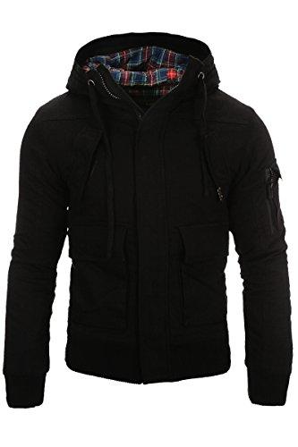 Giacca da uomo giacca invernale con calda imbottitura Young & Rich Headline Parka Cappuccio Nero Cappotto Outdoor nero XXL