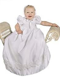 Olivia 9 Month Satin Christening Baptism Blessing Gown for Girls, Made in USA