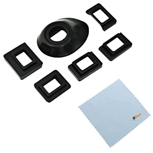 GTMax Universal Eyecup Eye Cup Eyepiece with 5 Adapters + Cleaning Cloth for Canon Nikon Pentax Olympus Fujifilm DSLR / SLR Cameras