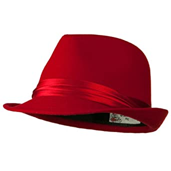 Fedora with Pleated Satin Band - Red OSFM at Amazon Men's Clothing