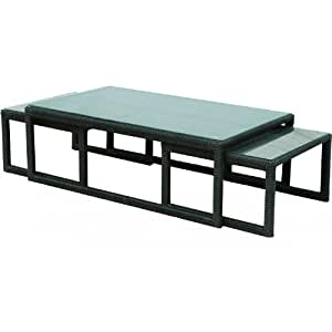Amazoncom darlee vienna resin wicker patio nesting for Outdoor patio nesting tables