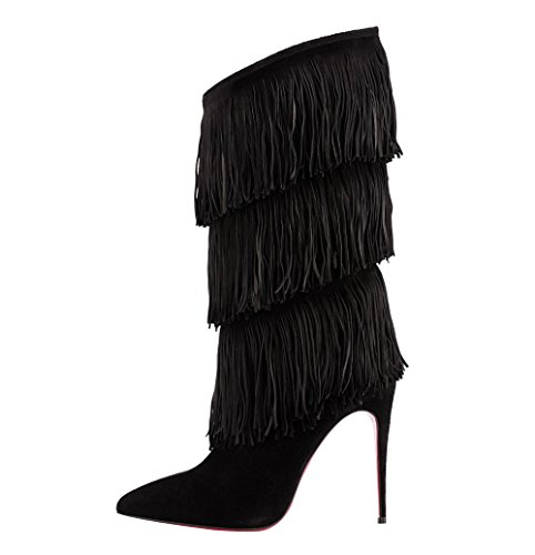 Onlymaker Ladies Women'S High Heel Fashion Over Calf Boots Fringe Decoration Shoes Handmade For Wedding Party Dress Shoes Suede Black Us 9