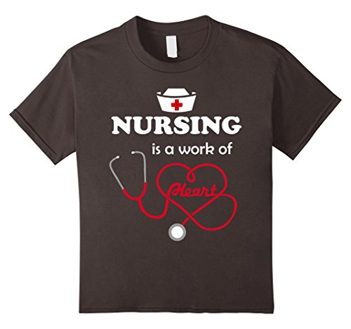 [Kids NURSING Is A Work Of Heart Inspiring Nurse Tee Apparel Gift 12 Asphalt] (Midwife Costume For Kids)