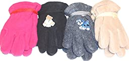 Four Pairs Mongolian Fleece Microfiber Lined Gloves for Infants Ages 6-24 Months