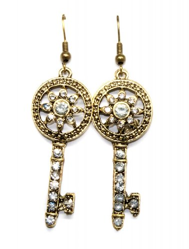 Gold Old-fashioned Key Earrings with Crystals