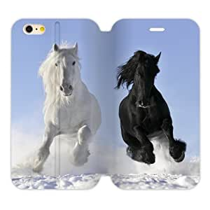"""Fashionable Design Wild animal style, handsome horse, loving horse, funny horse walking, running, racing pattern Apple iphone 6 (4.7"""" inch) TPU Case and High Grade PU Leather Cover Case Cover"""