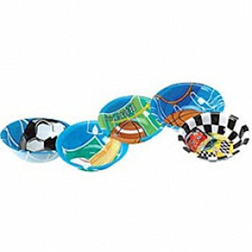 Dozen Assorted Design Football Theme Plastic Party Bowls