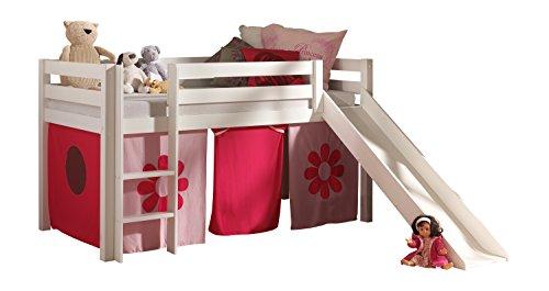Vipack PICOHSGB1473 Pino Lit Mezzanine avec Toboggan et Housse Pink Flower Pin Massif Blanc