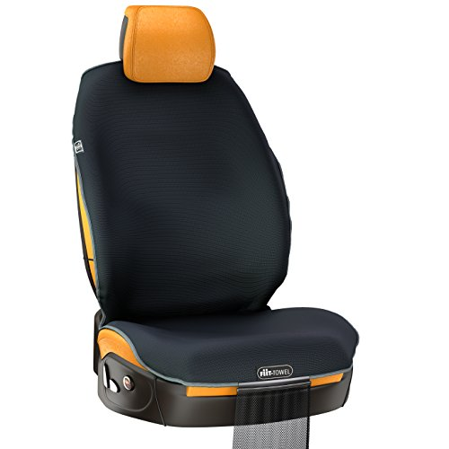 V2.0 Fit-Towel Car Seat Cover. Microfiber Seat Protector, With Quick-Dry, Skidless Technology. Carseat Protection for All Workouts, All-Weather (Black)