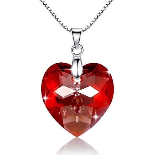 GoSparking-Red-Crystal-Heart-Sterling-Silver-Collar-colgante-con-el-cristal-austraco-para-las-mujeres