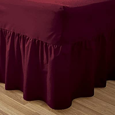 Plain Dyed 50:50 Poly Cotton Bed Base Valance Sheet Red: 4ft Small Double Size Bed