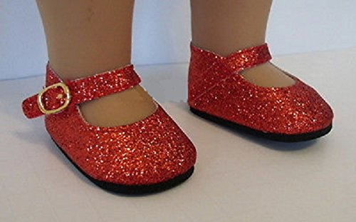 [Ruby Red Slippers Glitter Shoes for 18 inch American Girl Dorothy Costume from Lovvbugg!] (Baby Dorothy Costumes)