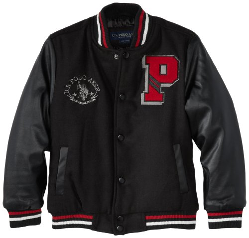 U.S. Polo Association Little Boys' Varsity Jacket, Black/Black, 5/6