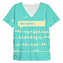 Snoogg Birds Feel Expoited 2912 Mens Casual V Neck All Over Printed T Shirts Tees
