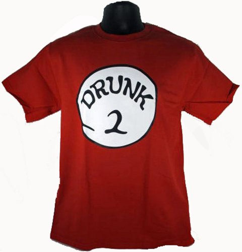 Drunk 2 Funny Costume Red T-Shirt Adult T-Shirt Tee