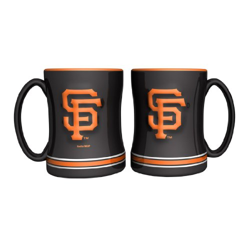 MLB Giants Ceramic Relief Coffee Mugs | San Francisco Giants Coffee Cups - Set of 2 (Sf Giants Coffee Mug Set compare prices)