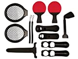 ITALKonline BLACK 12 in 1 Sports Pack (2 Player) for PlayStation Play Station PS3 Motion Move Controller - (Tennis, Golf, Sword, Ping Pong) with BLACK SoftSkin Silicone Case/Cover