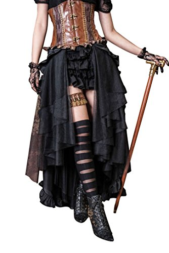 Steampunk Retro Victorian Punk Cincher Lace up Long Ruffle Pencil Skirt