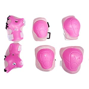 Crazycity Kid's Roller Blading Wrist Elbow Knee Pads Blades Guard 6 PCS Set Great Gift (#2 pink)