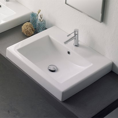 Cool Scarabeo AF Square Built In Ceramic Washbasin with Overflow