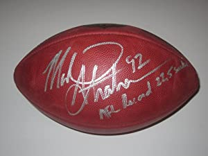 Michael Strahan New York Giants Signed Autographed Football Inscribed Nfl Record...