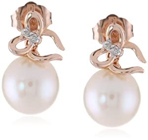 10K Rose Gold 8 - 8.5 mm Freshwater Cultured Pearl and (0.016 Cttw, G-H Color, I2-I3 Clarity) Diamond Earrings