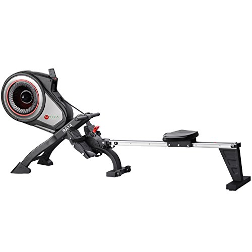 AsVIVA RA14 Rudergerät Magnetic Rower Cardio – Heimtrainer/Fitnessgerät mit Magnetwiderstand für den leisen Workout inkl. Fitnesscomputer, grau/schwarz