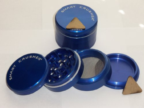 "New Smart Crusher Cnc Aluminum 2.5"" Large 4Pcs Herb Pollen Tobacco Grinder + Free Pollen Scrapper"