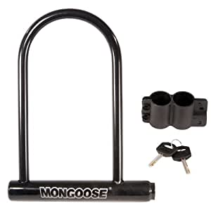 mongoose large bicycle u lock bike u locks sports outdoors. Black Bedroom Furniture Sets. Home Design Ideas
