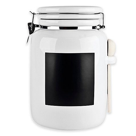 Ceramic 130 oz. Canister with Chalkboard Panel in White (Ceramic Storage compare prices)