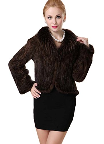 Bafei Long Sleeve Genuine Mink Fur Jacket Outwear Coat with Reccon Fur Collar (XXL)